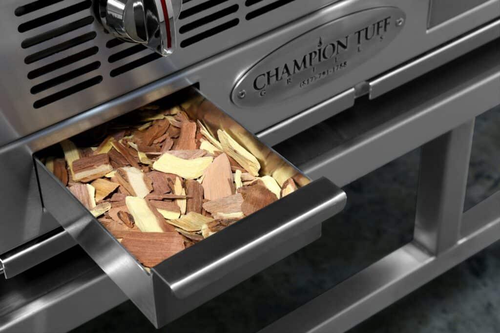 Champion Tuff charbroiler TCC-48 showing wood chip drawer